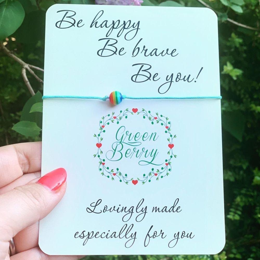 Single Rainbow Bead Wish Bracelet