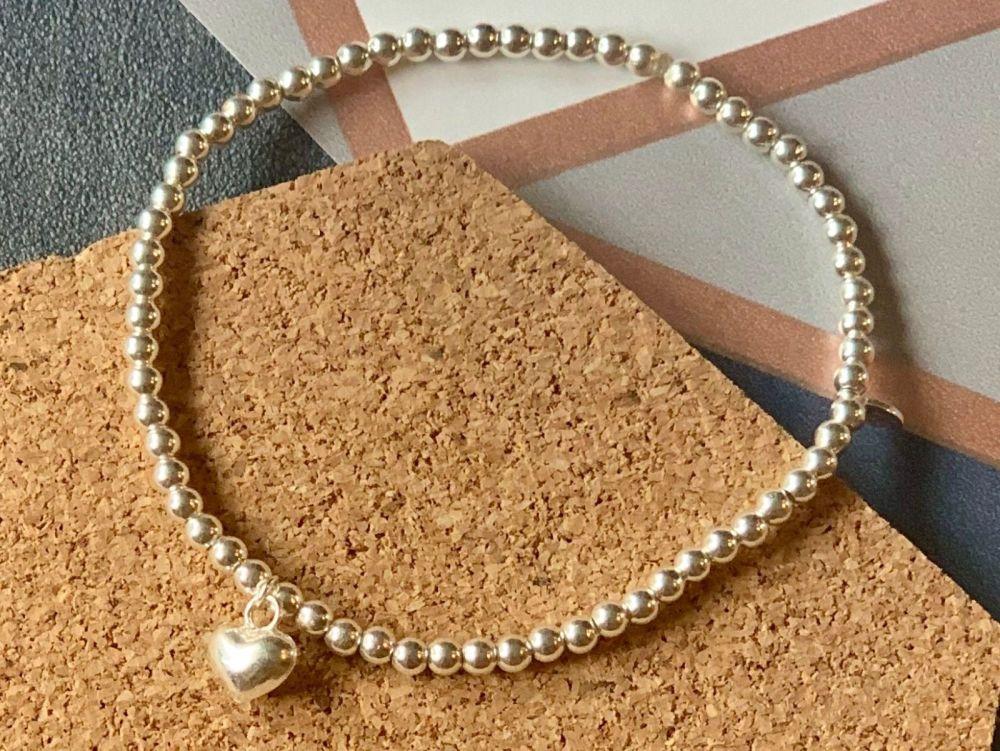 Sterling Silver 3D Heart Stacking Bracelet 4mm