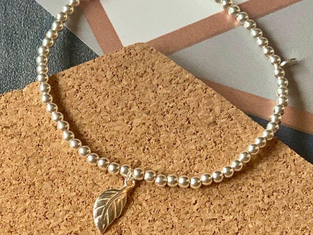Sterling Silver Leaf Stacking Bracelet - 4mm