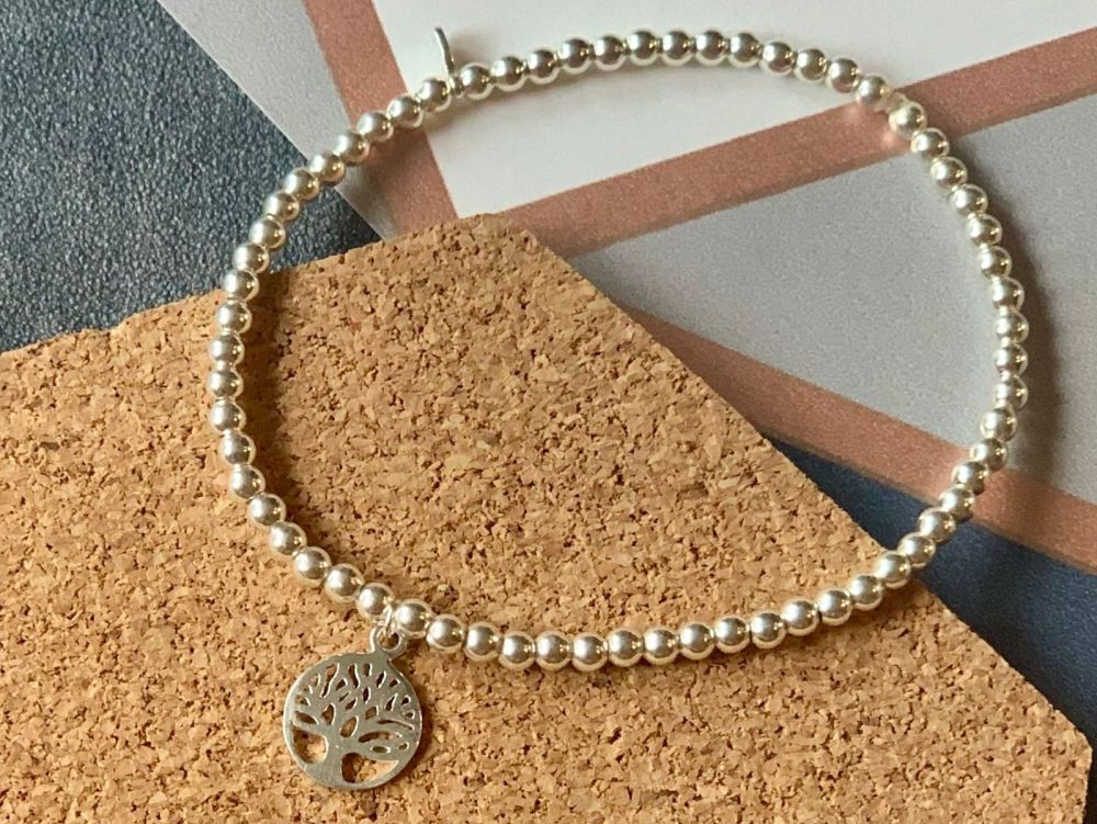 Sterling Silver Tree of Life Stacking Bracelet - 4mm