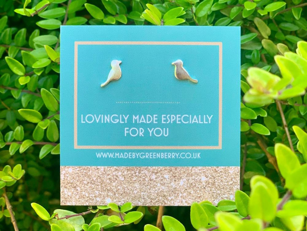 Bird Sterling Silver Earring Studs - New