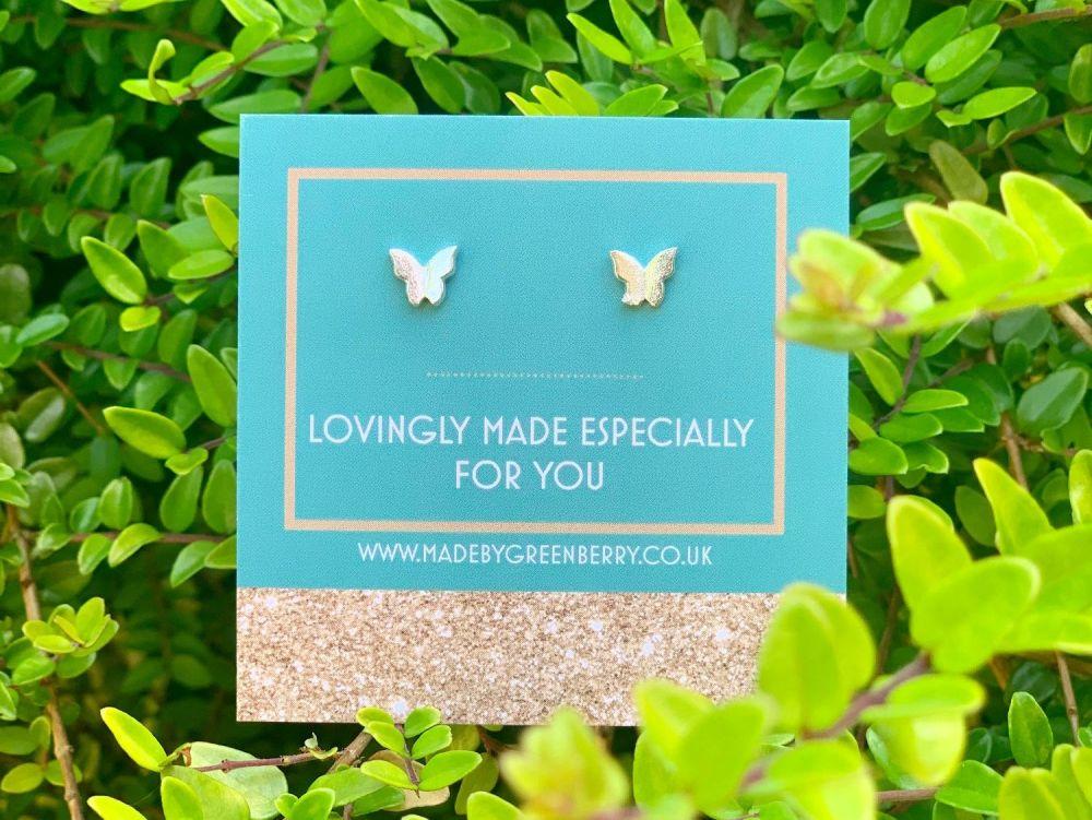 Butterfly Sterling Silver Earring Studs - New