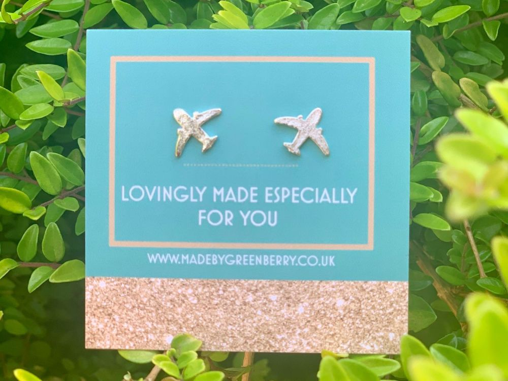 Aeroplane Sterling Silver Earring Studs - New