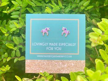 Purple Unicorn Sterling Silver Earring Studs - New