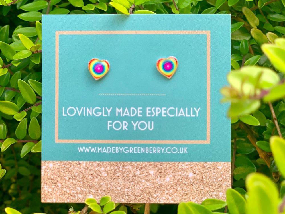 Rainbow Target Sterling Silver Stud Earrings - New