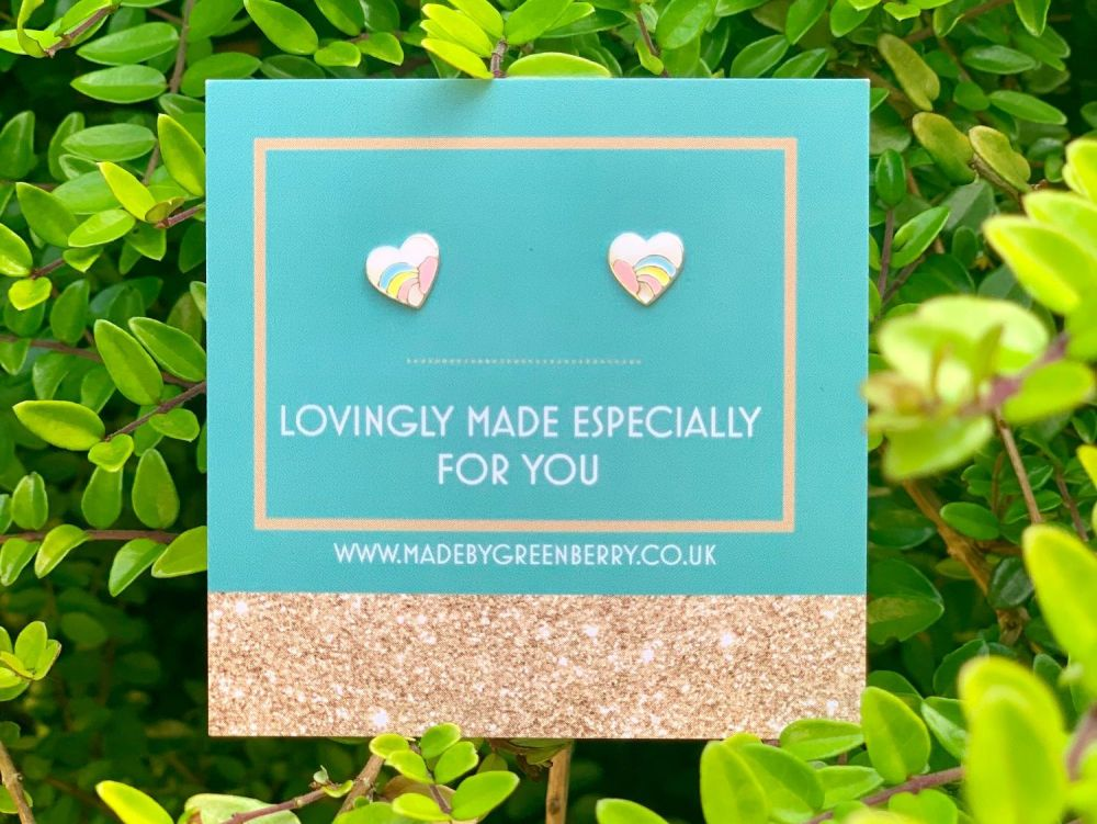 Pastel and Cloud Heart Rainbow Sterling Silver Stud Earrings - New