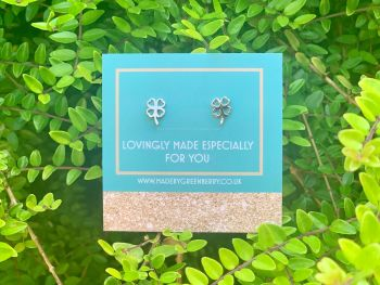 Four Leaf Clover Sterling Silver Studs - New