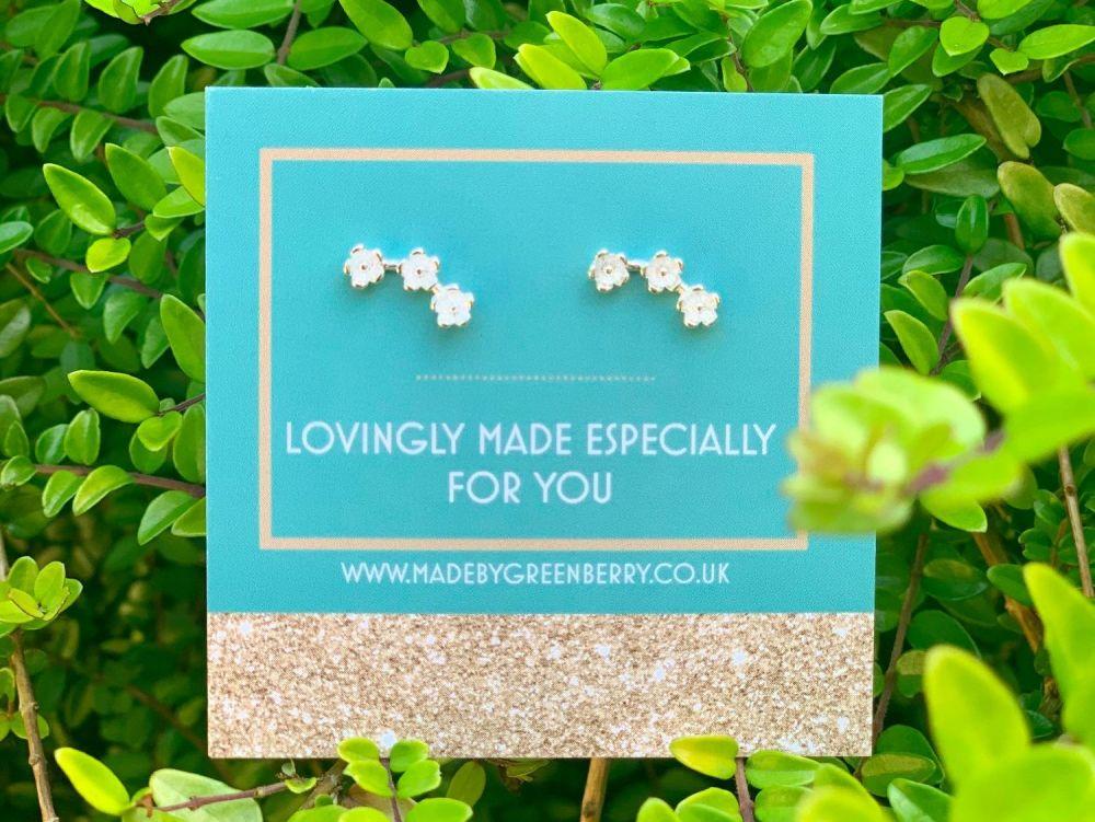Triple Flower Sterling Silver Earrings - New