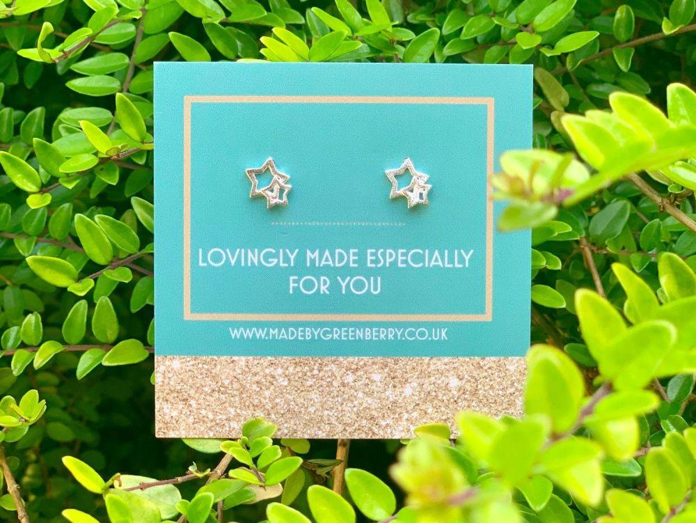 Double Star Sterling Silver Earrings - New