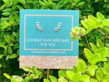 Triple Star Sterling Silver Earrings - New