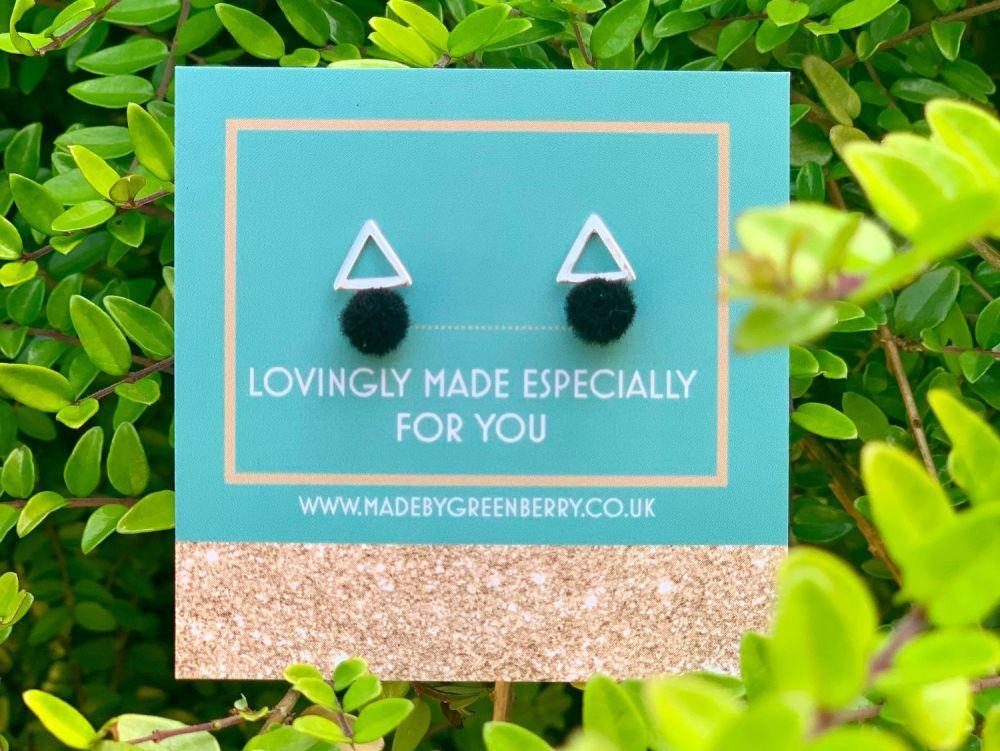 Triangle & Black Pom Pom Sterling Silver Earrings - New