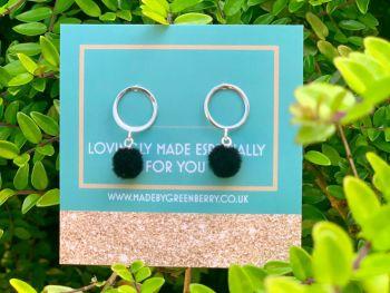 Circle & Black Pom Pom Sterling Silver Earrings - New