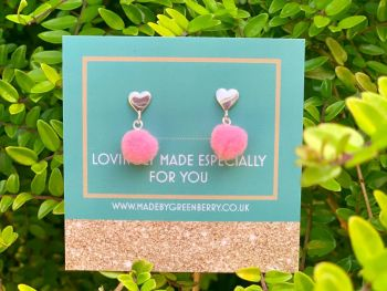 Heart & Pink Pom Pom Sterling Silver Earrings - New