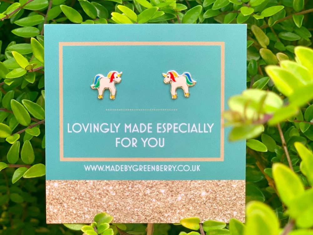 Bright Rainbow Unicorn Sterling Silver Earrings - New