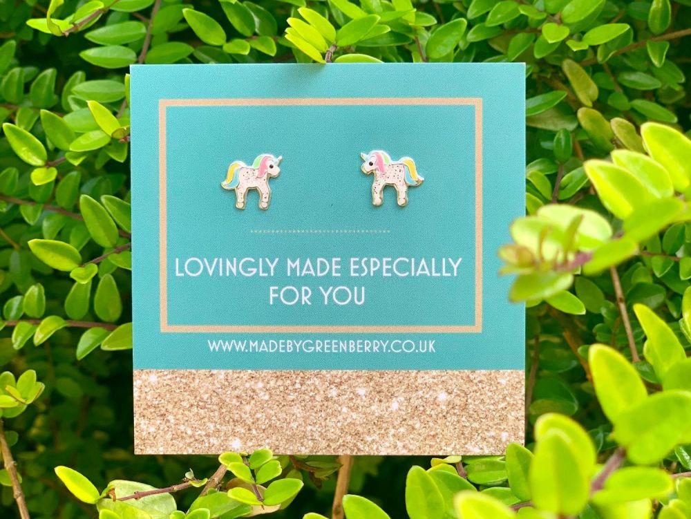 Pastel Rainbow Unicorn Sterling Silver Earrings - New