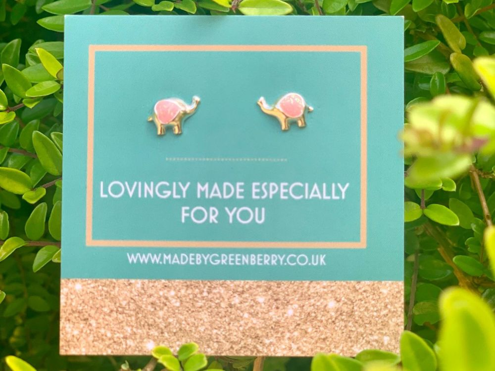 Pink Elephant Sterling Silver Studs - New