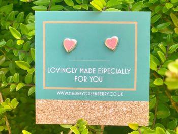 Pink Heart Sterling Silver Earrings - New
