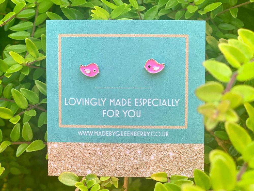 Pink Bird Sterling Silver Earring Studs