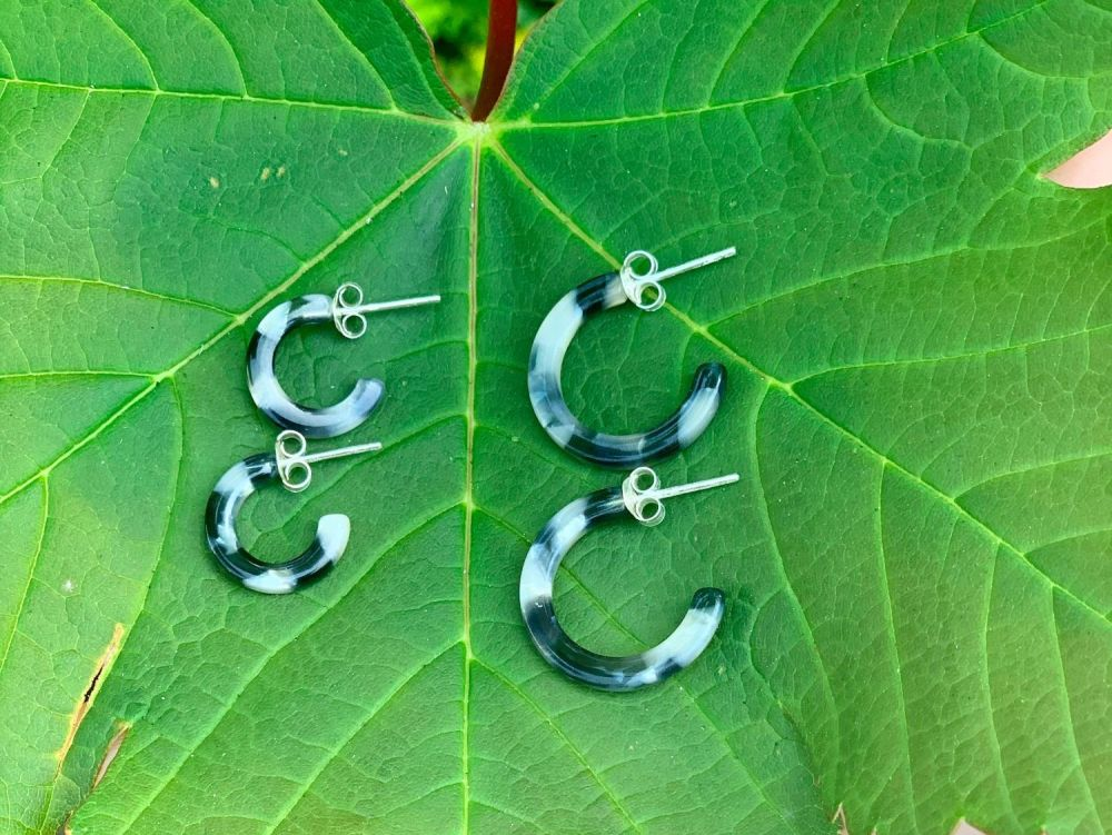 Sterling Silver Acrylic Black and Grey Half Hoops - 14mm