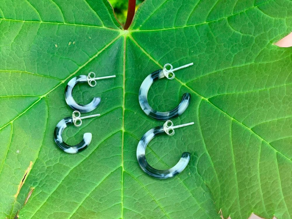 Sterling Silver Acrylic Black and Grey Half Hoops - 20mm