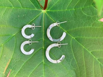 Sterling Silver Acrylic Ivory Half Hoops - 14mm