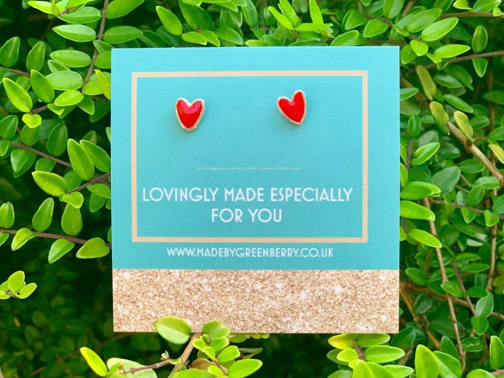 Red Heart Sterling Silver Earrings - New