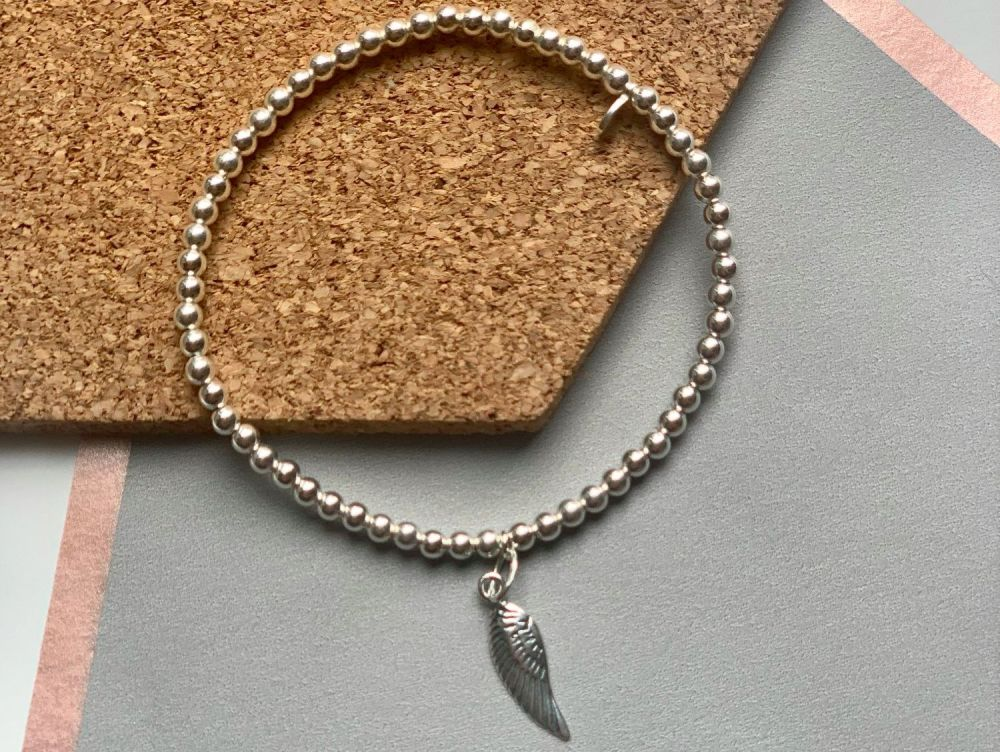 Sterling Silver Angel Wing Stacking Bracelet - 3mm