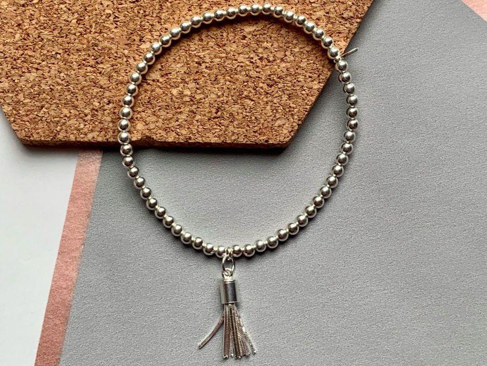 Sterling Silver Tassel Stacking Bracelet - 3mm