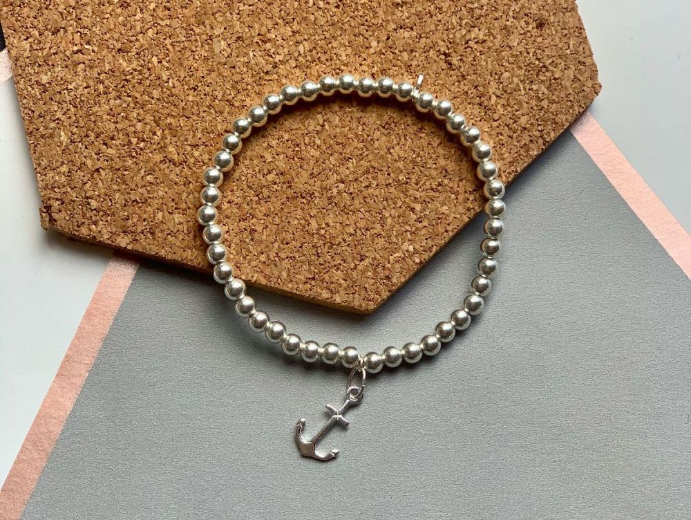 Sterling Silver Anchor Stacking Bracelet - 4mm