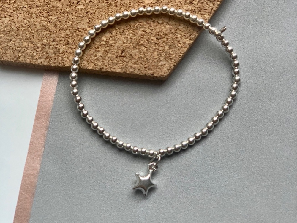 Sterling Silver Star Stacking Bracelet - 3mm