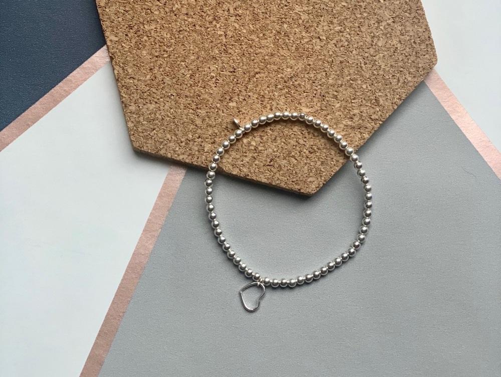 Sterling Silver Open Heart Stacking Bracelet 3mm