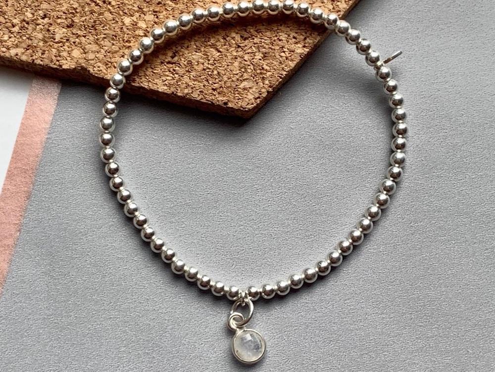 Sterling Silver Moonstone Charm Stacking Bracelet - 4mm