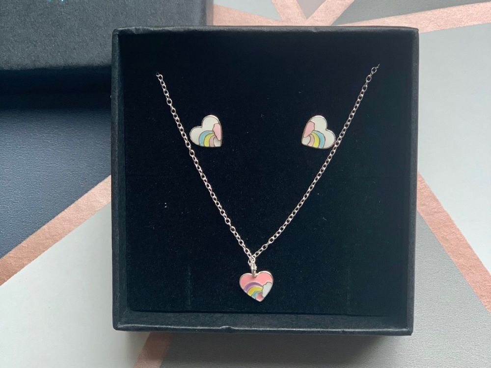 Pink Rainbow Heart Necklace with Earrings