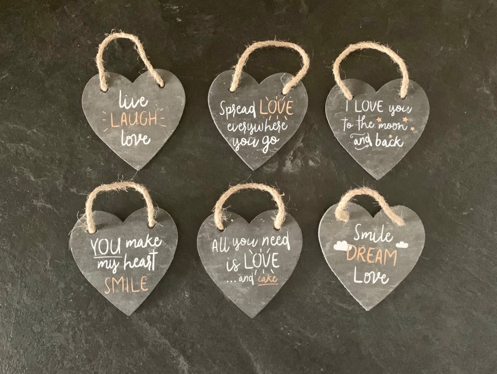 Slate Heart Decorations