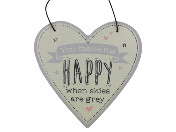 Hanging Heart Plaque - Happy