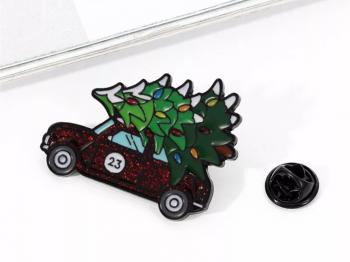 Christmas Car and Tree Pin Badge