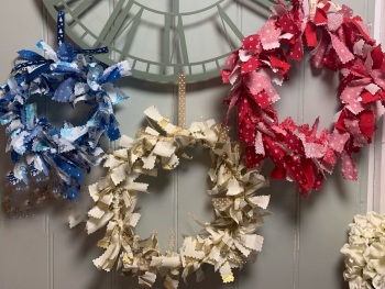 Blue Fabric Wreath