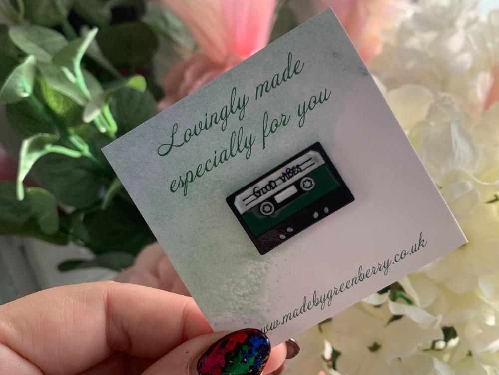 Good Vibes Cassette Pin Badge