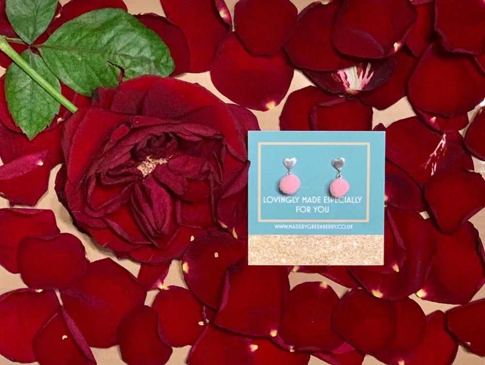 Heart & Pink Pom Pom Sterling Silver Earrings - New