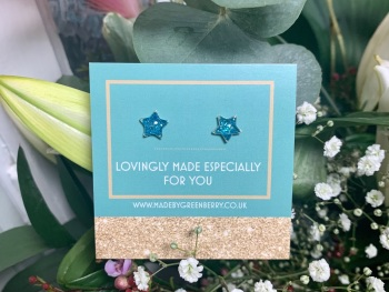Blue Star Glitter Earrings