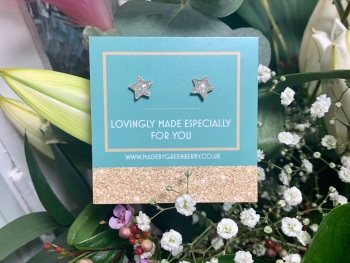 White Star Glitter Earrings