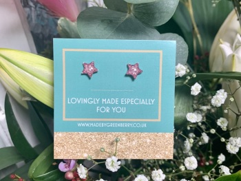 Pink Star Glitter Earrings