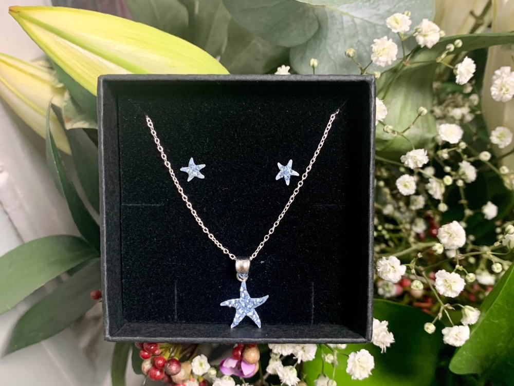 Blue Star Necklace with matching earrings