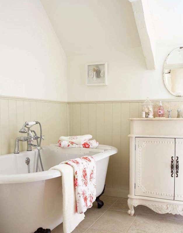 country bathroom design, shabby chic bathroom, roll top bath, traditional bath ,
