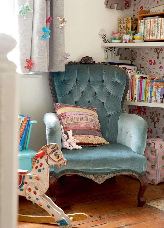 children interior design, children's bedroom decor,childrems room reading corner, velour chair,