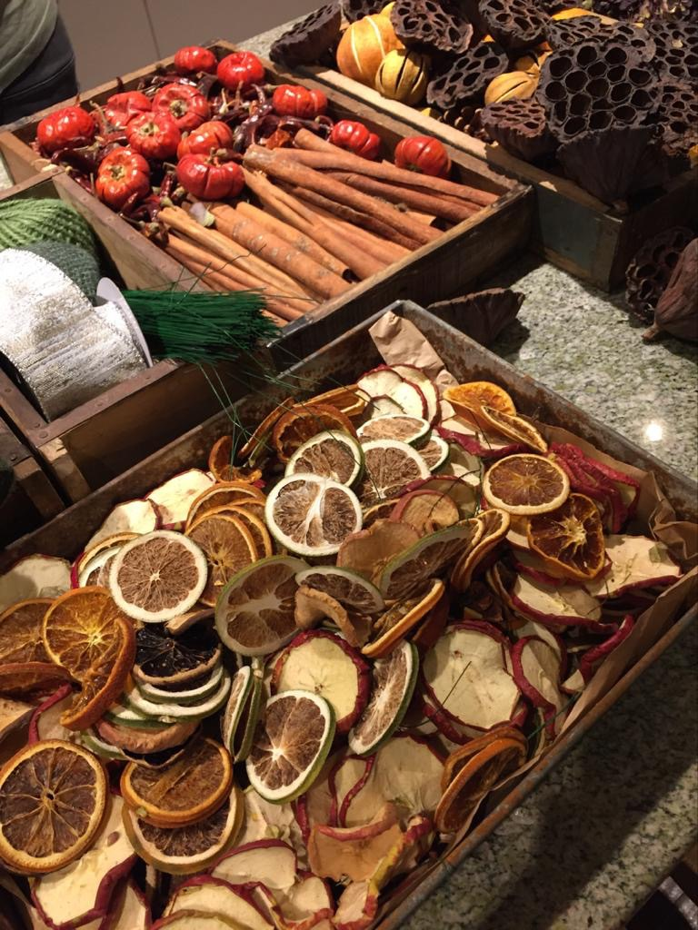 festive dried fruits,cinnamon sticks,stylish wreaths,hydrangea head wreaths,stylish christmas in the cotswolds