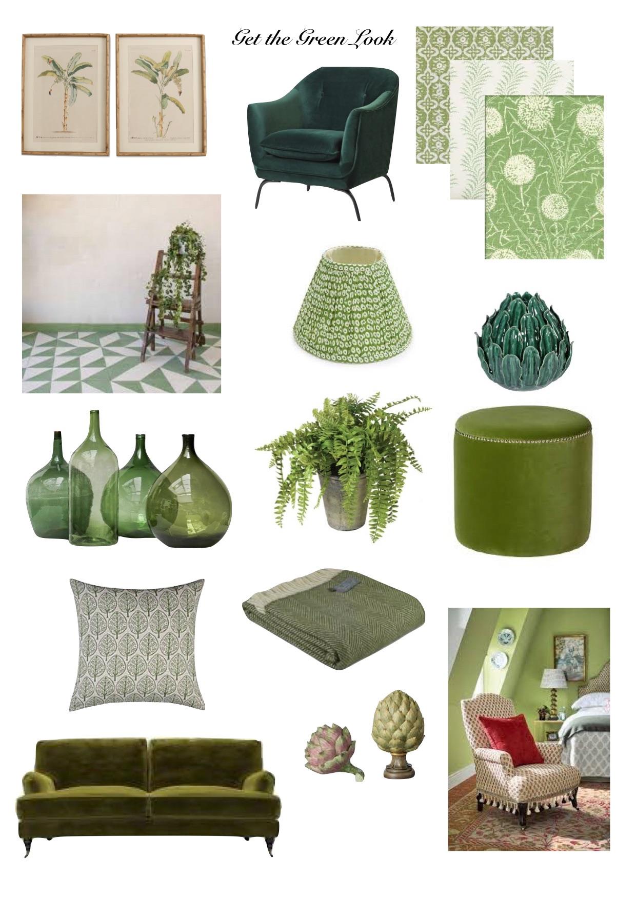 Get the green look, green interiors,green tiles,green textiles,calming interiors,