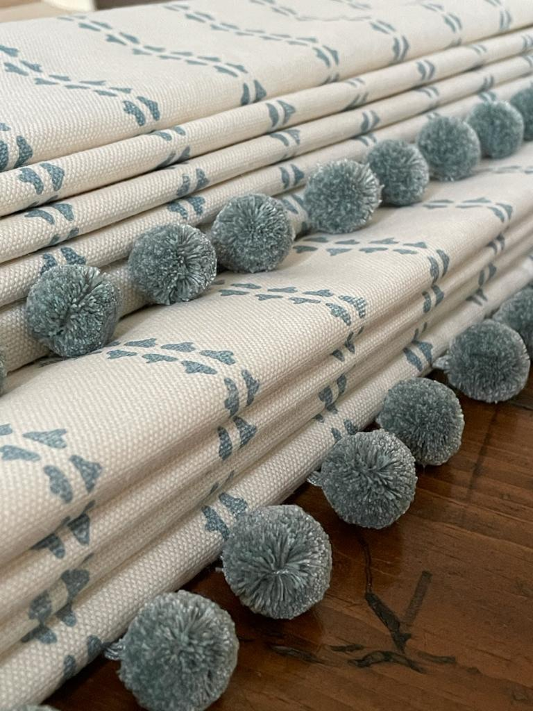 homemade blinds,quality blinds oxfordshire,duck egg blinds,pom pom edging,vanessa arbuthnott stripe fabric