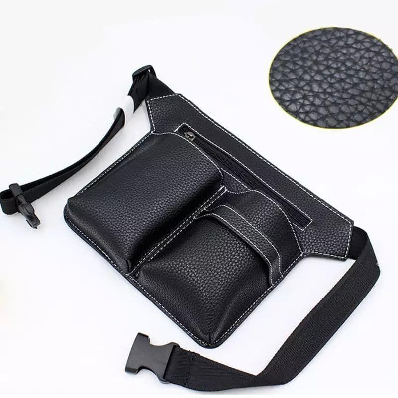 Black Faux Leather Scissor Pouch