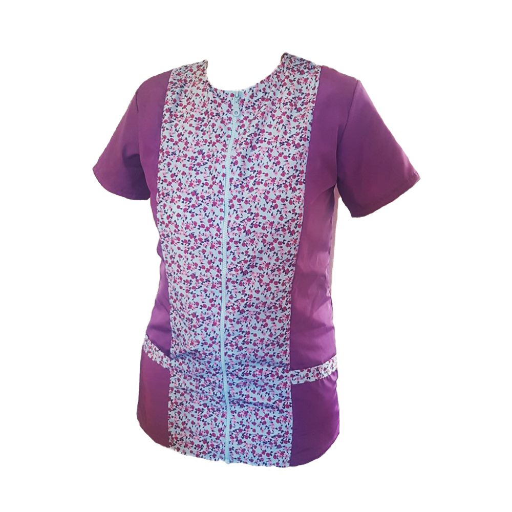 Floral Purple Dog Grooming Tunic